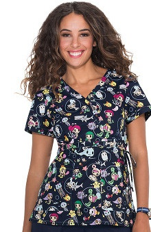 Koi By Tokidoki Women's Kathryn Mock Ocean Print Scrub Top