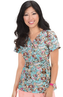 koi by tokidoki Women's Kathryn Mock Wrap Print Scrub Top