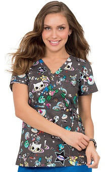 koi by tokidoki Women's Kathryn Mock Wrap Outer Space Print Scrub Top