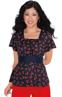 Koi Prints Women's Audrey Square Neck Cherry Print Scrub Top