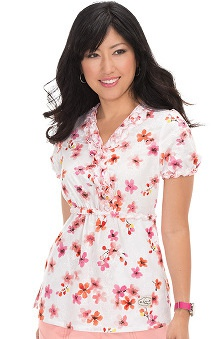 Clearance koi Prints Women's Emily Mock Wrap Floral Print Scrub Top