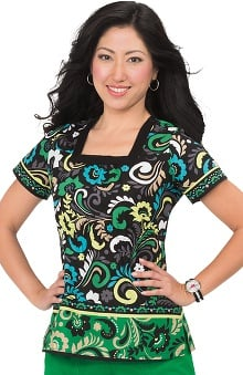 koi Prints Women's Vanessa Square Neck Paisley Print Scrub Top