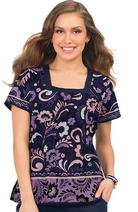 Clearance koi Prints Women's Vanessa Square Neck Paisley Print Scrub Top