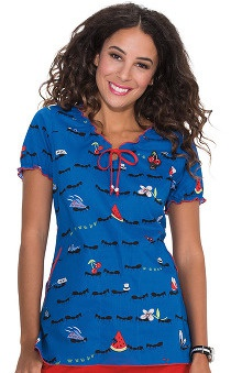 Koi Prints Women's Bridgette Embroidered Picnic Print Scrub Top
