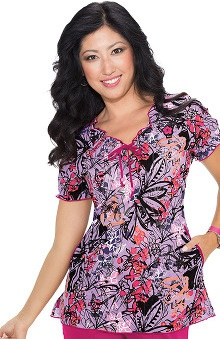 Koi Prints Women's Bridgette Embroidered Floral Print Scrub Top