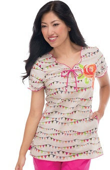 Clearance koi Women's Bridgette Flower Print Scrub Top