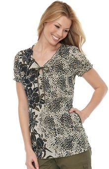 koihappiness.com: koi Women's Bridgette Flower Print Scrub Top