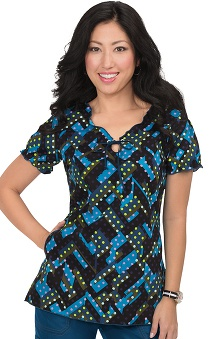 koi Prints Women's Bridgette V-Neck Geometric Print Scrub Top