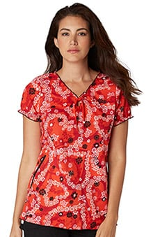 koi Prints Women's Bridgette V-Neck Floral Print Scrub Top