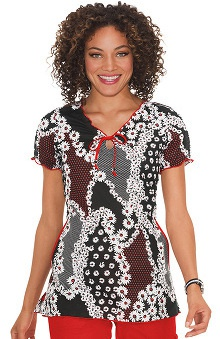 koi Prints Women's Bridgette Floral Print Scrub Top