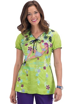 Clearance koi Women's Bridgette Jungle Girl Print Scrub Top