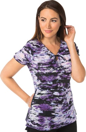 koi Prints Women's Bridgette V-Neck Abstract Print Scrub Top