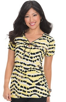 koi Prints Women's Bridgette Abstract Print Scrub Top