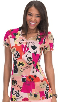 Clearance koi Prints Women's Bridgette Floral Strawberry Print Scrub Top