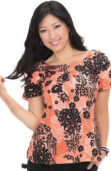 Clearance koi Prints Women's Demi A-line Floral Print Scrub Top