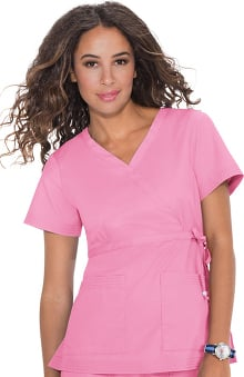 XXS: Koi Happiness Women's Katelyn Wrap Solid Scrub Top