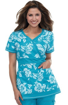 firefighter print: koi Women's Rylee Flower Print Scrub Top