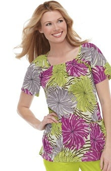 Clearance koi Women's Dakota Raglan Sleeve Flower Print Scrub Top