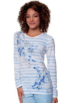 Clearance koi Women's Tessa Long Sleeve Flower Print Tee