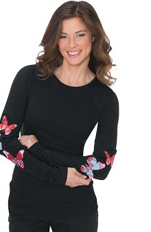 koi Women's Tessa Long Sleeve Butterfly Print T-Shirt