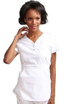 koihappiness.com: Koi Women's Justine Snap Button Solid Scrub Top