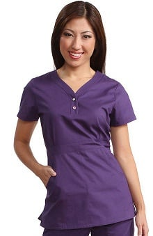 koihappiness.com: Koi Happiness Women's Justine Snap Button Solid Scrub Top