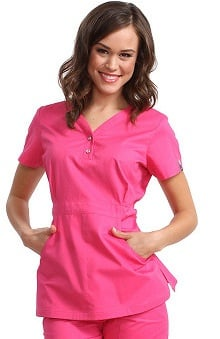 koi Women's Justine Snap Button Solid Scrub Top