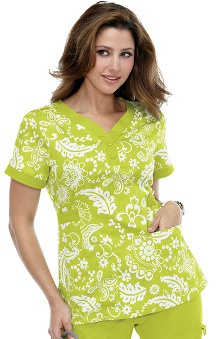 koihappiness.com: koi Women's Kourtney Y-Neck Paisley Print Scrub Top