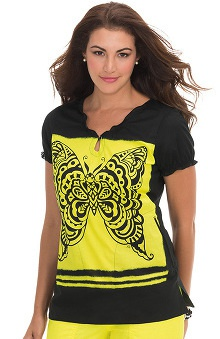 koi Prints Women's Brianna Elastic Back Butterfly Print Scrub Top