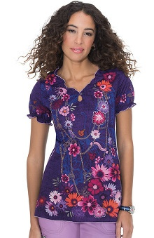 koi Women's Brianna Elastic Back Floral Print Scrub Top