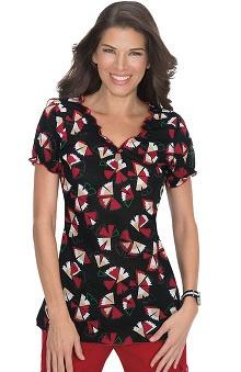 Clearance koi Women's Brianna Elastic Back Petal Print Scrub Top