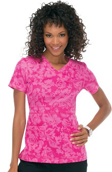koihappiness.com: koi Women's Julia Mock Wrap Flower Print Scrub Top