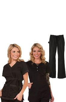 koi Women's 2 Tops 1 Pant Scrub Set