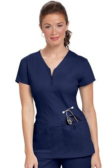 koi Stretch Women's Mackenzie Zip V-Neck Solid Scrub Top