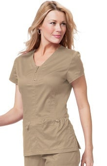 Clearance koi Stretch Women's Mackenzie Zip Neck Solid Scrub Top