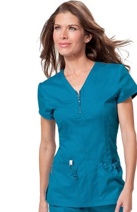 Clearance koi Stretch Women's Mackenzie Zip V-Neck Solid Scrub Top