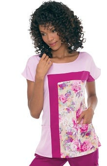 koihappiness.com: koi Women's Sonia Color Block and Flower Print Inset Scrub Top