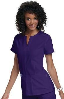 koi Women's Naomi Split Neck Solid Scrub Top