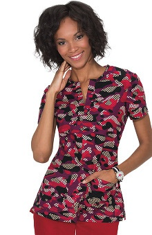 koi Women's Naomi Split Neck Chevron Camo Print Scrub Top