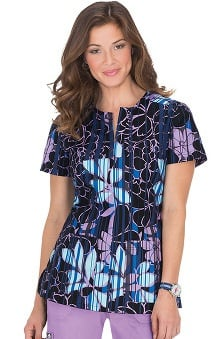 koi Women's Naomi Split Neck Floral Print Scrub Top