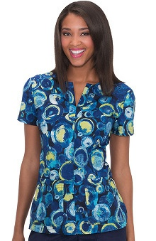 koi Prints Women's Naomi Split Neck Abstract Print Scrub Top
