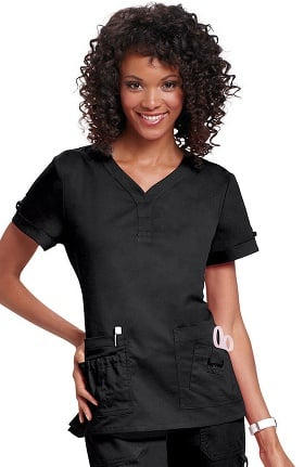 koi Women's Erica Multi Pocket Solid Scrub Top