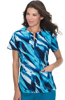 Clearance koi Stretch Women's Naomi Split Neck Stretch Abstract Print Scrub Top