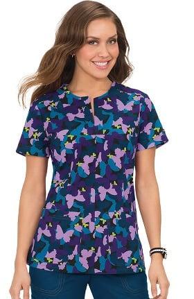 Clearance koi Stretch Women's Naomi Split Neck Butterfly Print Scrub Top
