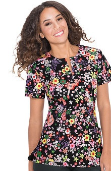 Koi Stretch Women's Naomi Split Neck Floral Print Scrub Top