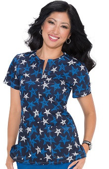 Clearance Koi Stretch Women's Naomi Split Neck Star Print Scrub Top