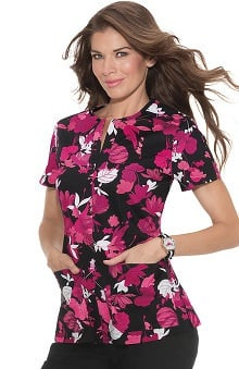 Clearance koi Stretch Women's Naomi Split Neck Floral Print Scrub Top