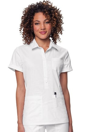 koi Stretch Women's Felicia Collared Solid Scrub Top