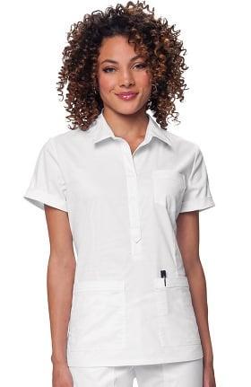 koi Stretch Women's Felicia Collared Solid Scrub Top
