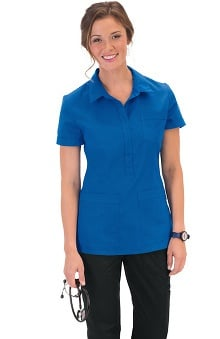 Clearance koi Stretch Women's Felicia Collared Solid Scrub Top